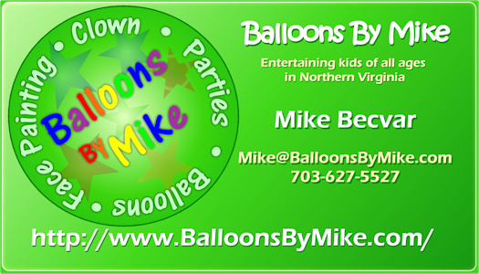 Contact information northern virginia balloon twisting balloons by mikes business card colourmoves